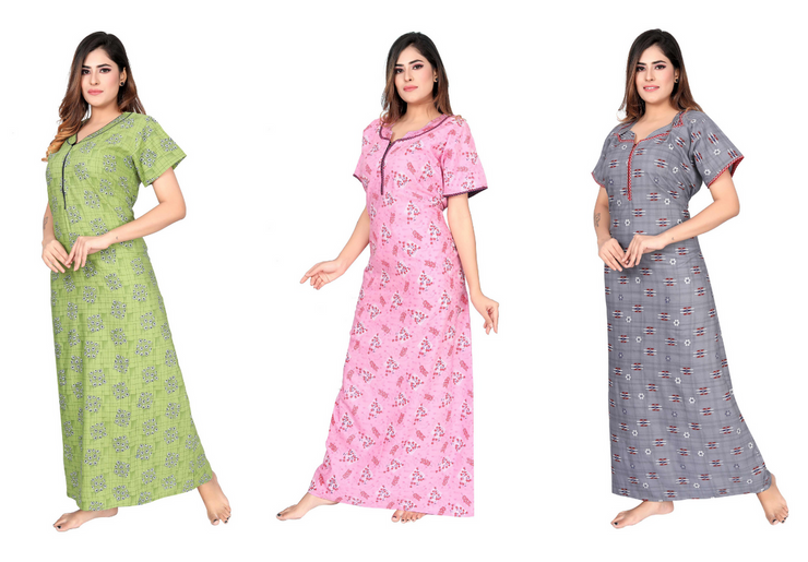 Assorted Pack of 3 - Printed Poly Cotton Nighty - 1140 - The Loungewear