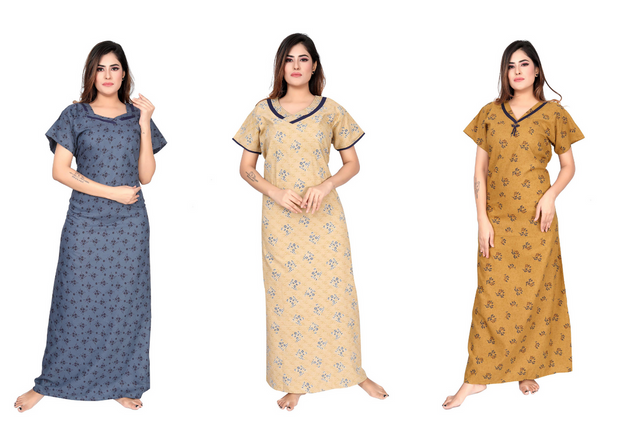 Assorted Pack of 3 - Printed Poly Cotton Nighty - 1139 - The Loungewear