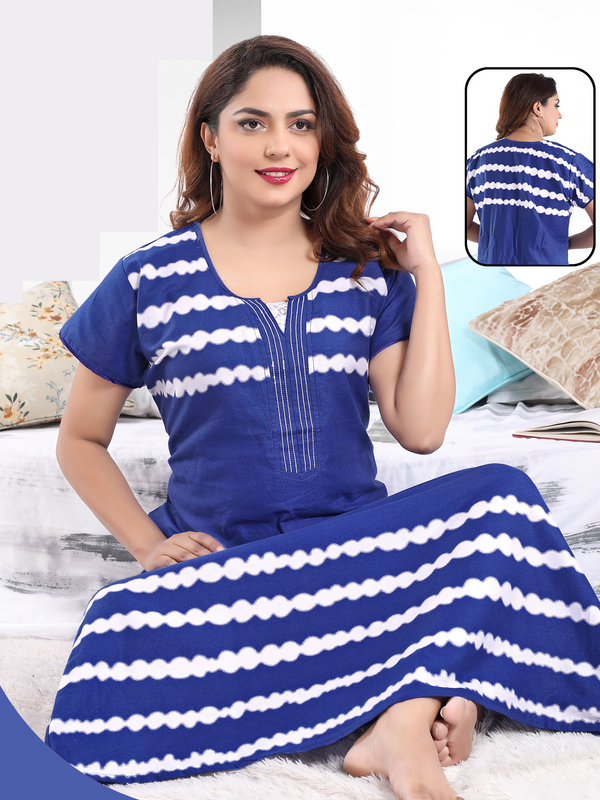 Blue Printed Cotton Nighty - 187A