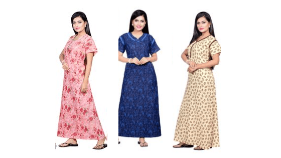 Assorted Pack of 3 - Printed Cotton Maxi Nightdress - The Loungewear