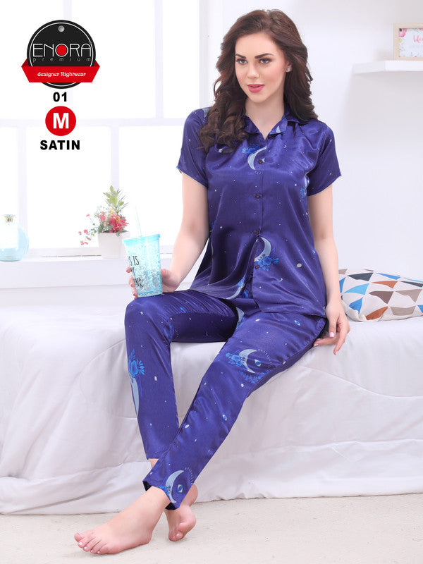 Electric Blue Printed Satin Night Suit-1251 - The Loungewear