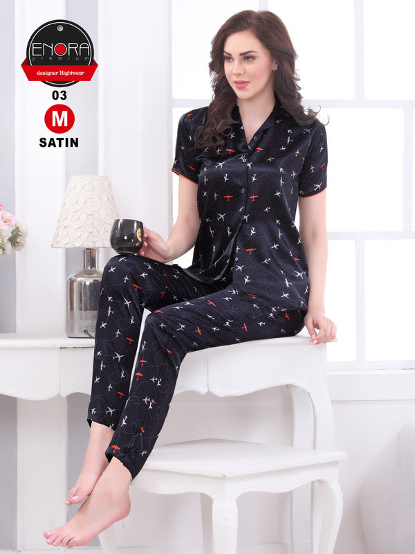 Black Printed Satin Night Suit - 1253 - The Loungewear