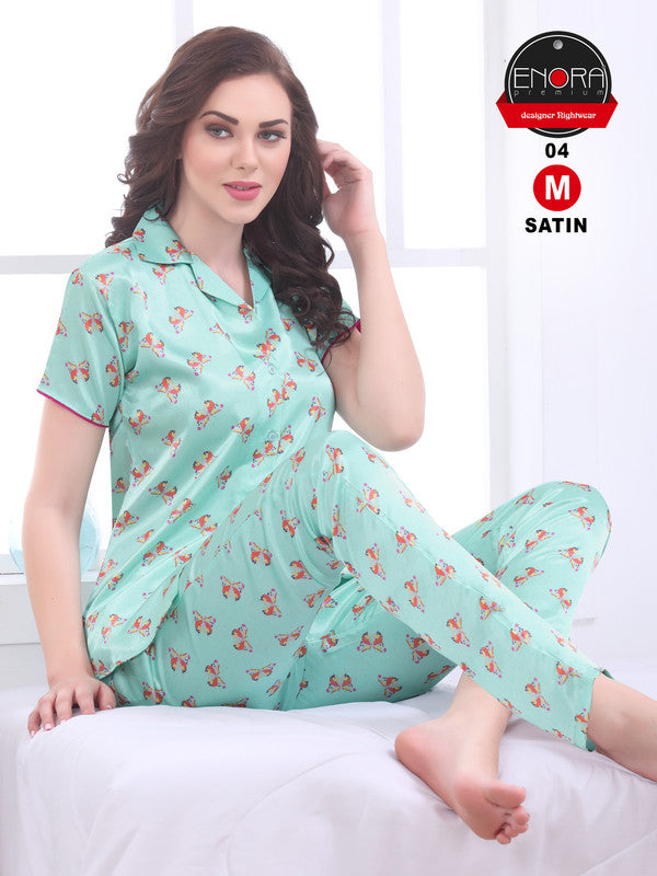 Aqua Green Printed Satin Night Suit - 1254 - The Loungewear