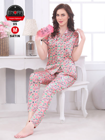 Peach Printed Satin Night Suit - 1255 - The Loungewear