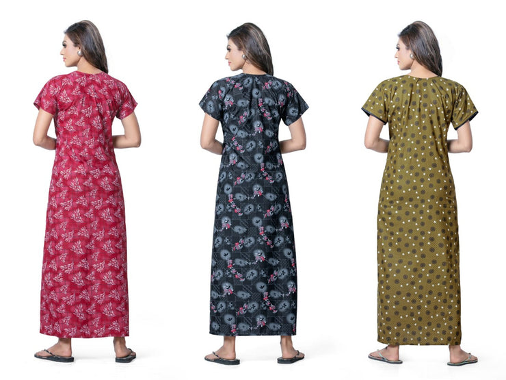 Assorted Pack of 3 - Printed Poly Cotton Nighty - 1148 - The Loungewear