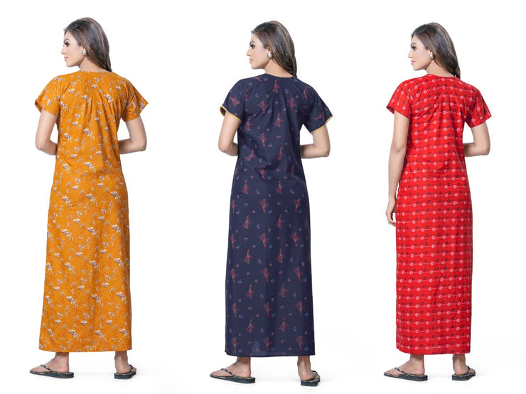 Assorted Pack of 3 - Printed Poly Cotton Nighty - 1147 - The Loungewear