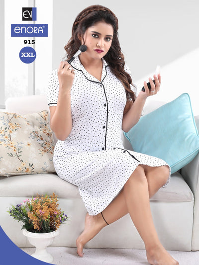 White Hosiery Knitted Cotton Dotted Short Nighty-915 - The Loungewear