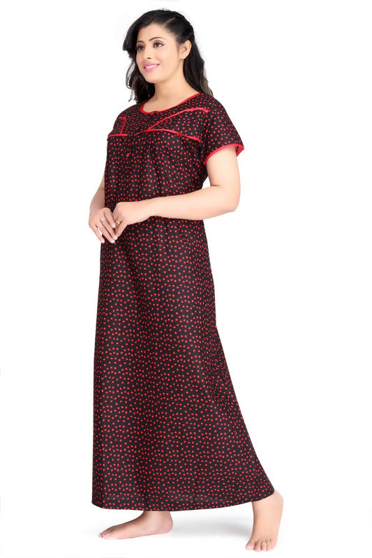 Black & Red Dotted Cotton Nighty-1149 - The Loungewear