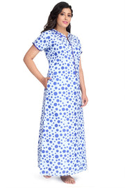 Sky Blue Dotted Cambric Cotton Nighty-1150 - The Loungewear