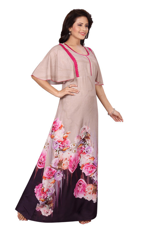 Dark Coloured Printed Rayon Nighty-1236 - The Loungewear