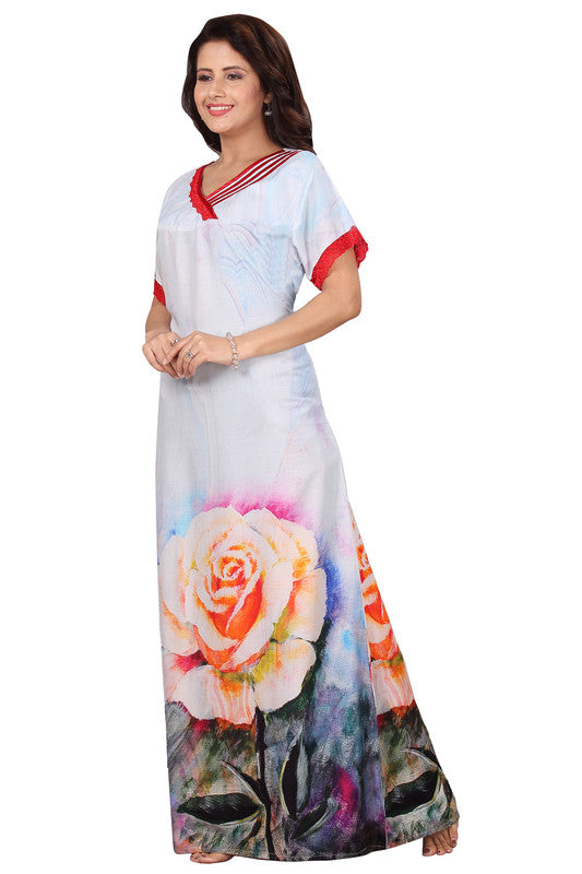 Light Coloured Printed Rayon Nighty-1237 - The Loungewear