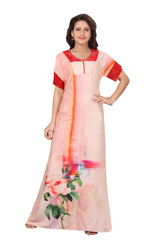 Peach Printed Rayon Nighty-1240 - The Loungewear