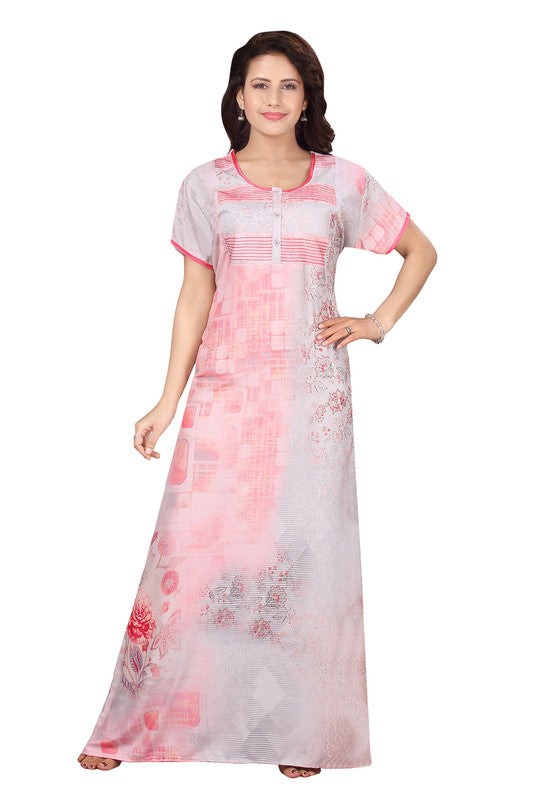 Light Pink Printed Rayon Nighty-1241 - The Loungewear
