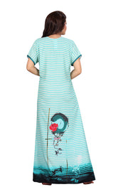 Aqua Printed Rayon Nighty-1244 - The Loungewear