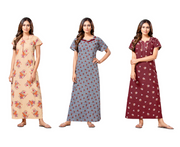 Assorted Pack of 3 - Cotton Printed Nighty-1069 - The Loungewear