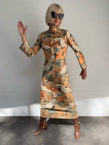 Vintage 1950's Custom made Japanese gold thread dress