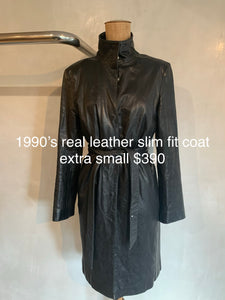 Vintage 1990's real leather slim fit coat