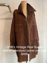 Load image into Gallery viewer, Vintage 1990's Suede leather oversized jacket