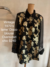 Load image into Gallery viewer, Vintage 1970's lamé ' Disco blouse