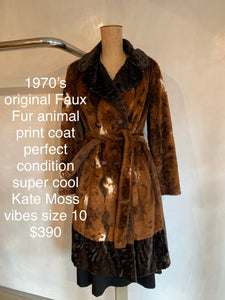 Vintage 1970's Faux fur animal print coat