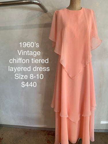 Vintage 1960's chiffon layered dress