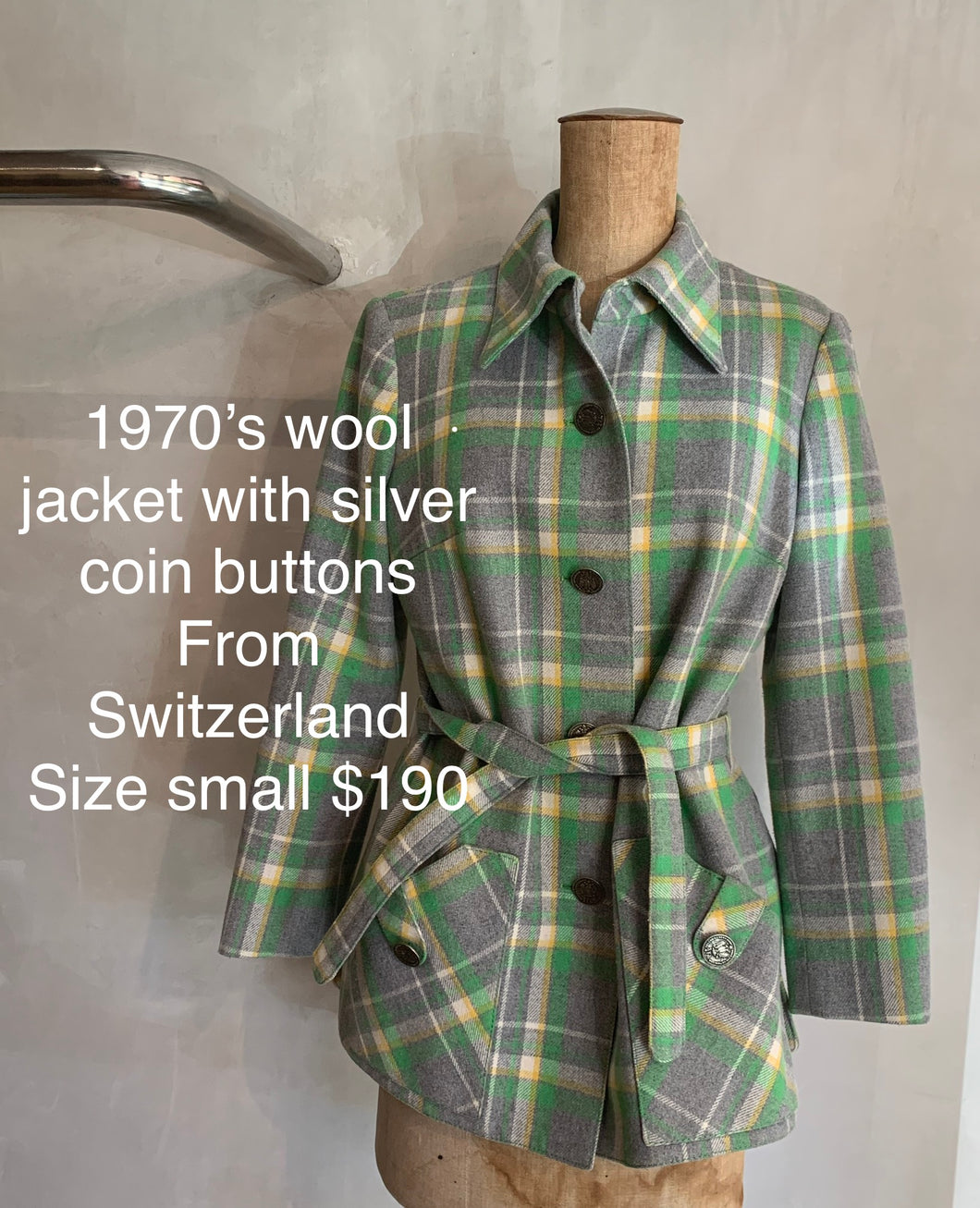 Vintage 1970's wool jacket with silver coin buttons