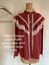 Load image into Gallery viewer, Vintage 1980's Ruffle prairie style shirt