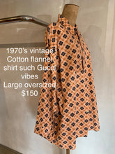 Load image into Gallery viewer, Vintage 1970's Flannel shirt