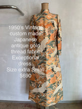 Load image into Gallery viewer, Vintage 1950's Custom made Japanese gold thread dress