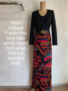 Vintage 1960's French long winter dress