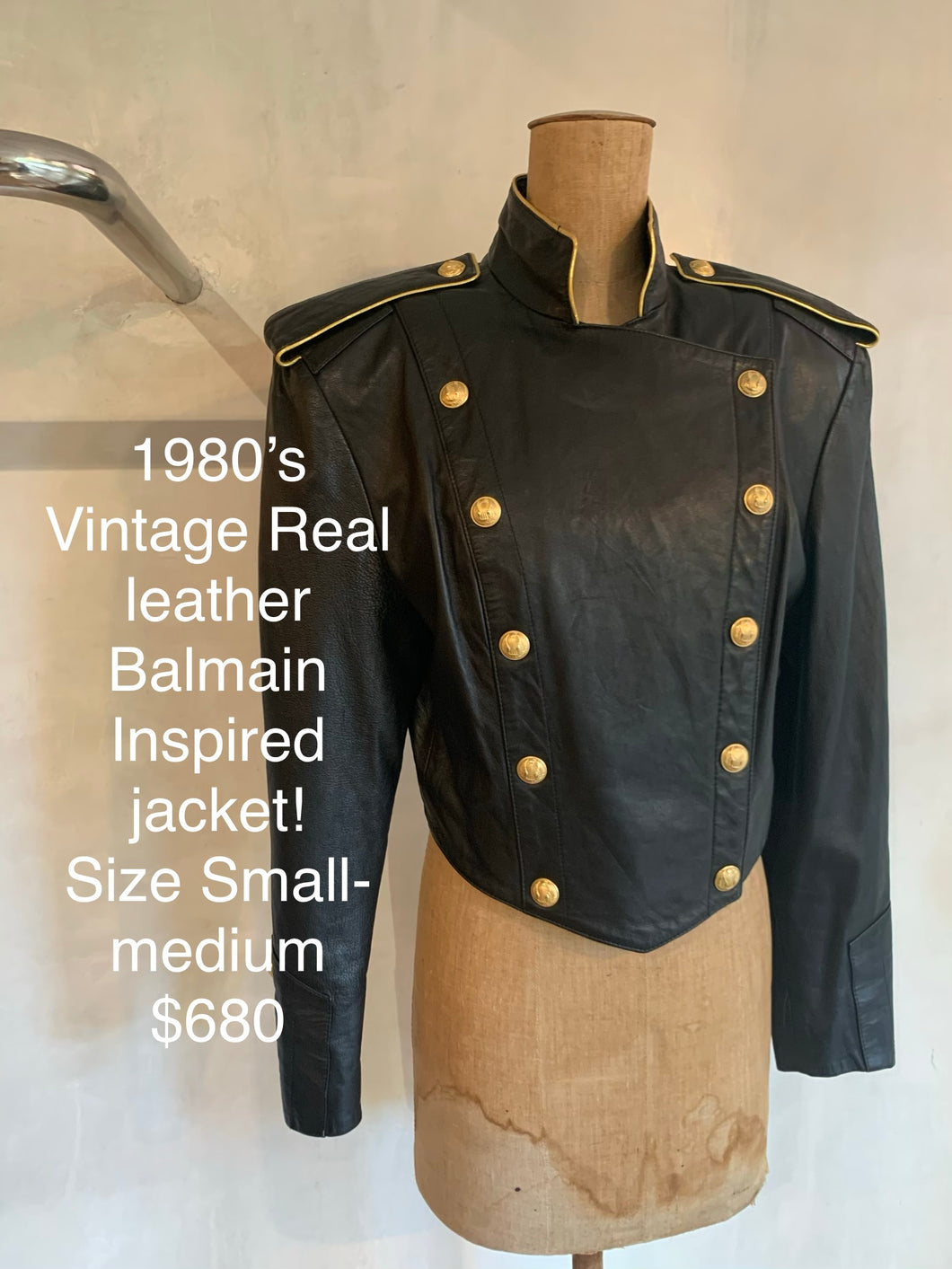 Vintage 1980's Real leather Balmain inspired jacket