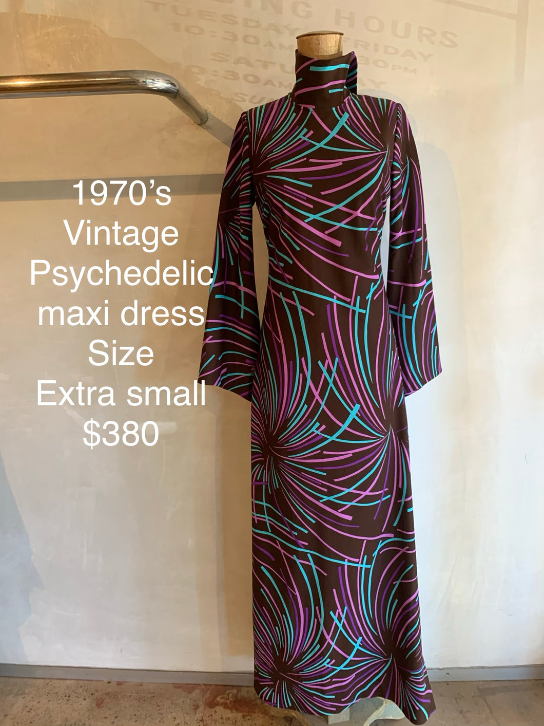 Vintage 1970's Psychedelic maxi dress