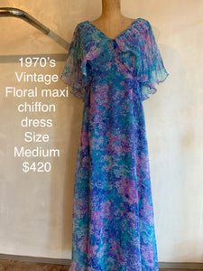 Vintage 1970's Floral maxi chiffon dress