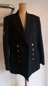 Vintage 1980's double breasted gold buttoned gentleman's blazer