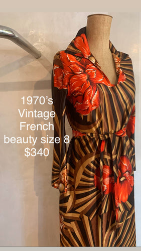 Vintage 1970's French maxi dress