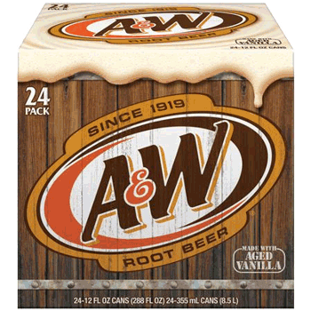 A&W Root Beer Can 12 oz 24pk
