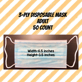 3-Ply Disposable Mask / Adult / 50 Count