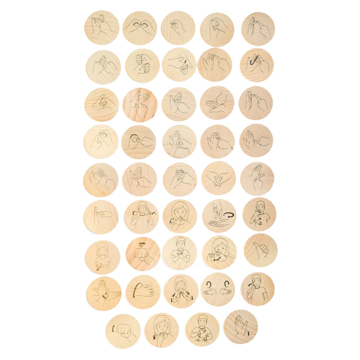 Sign Language Wooden Disks