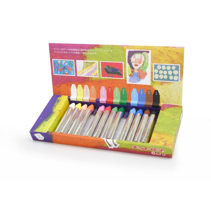 Ecru Medium Stick Crayons 12 Colours