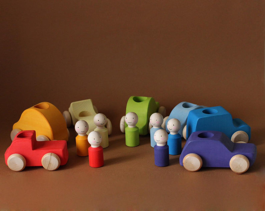 Rainbow Peg Dolls and Cars Set (PRE-ORDER)