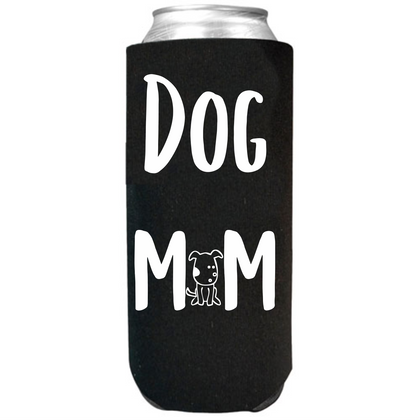 Dog Mom - Slim Can Cooler Sleeves -  Koozie - Neoprene 12 oz