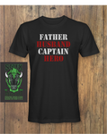 Mens Father Husband Captain Hero Fathers day T-Shirt