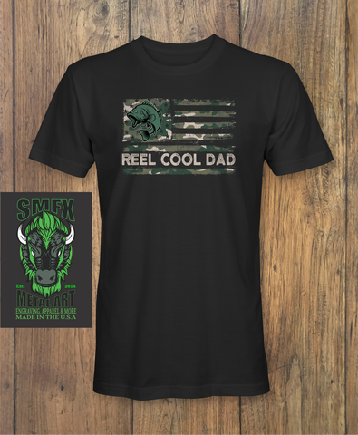 Reel Cool Dad Camouflage American Fishing Flag Father's Day T-Shirt