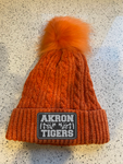 Akron Tigers Womens Winter Beanie Hat, Warm Fleece Lined Knitted Soft Ski Cuff Cap with Pom Pom