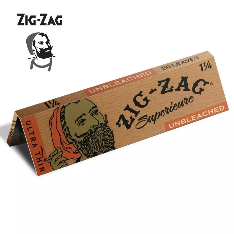 Zig Zag Unbleached Ultra Thin 1.25 1 1/4 Brown Rolling Paper