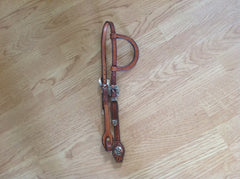 Dennis Moreland Aligator Print One Eared Headstall with Double Sterling Silver Buckles.