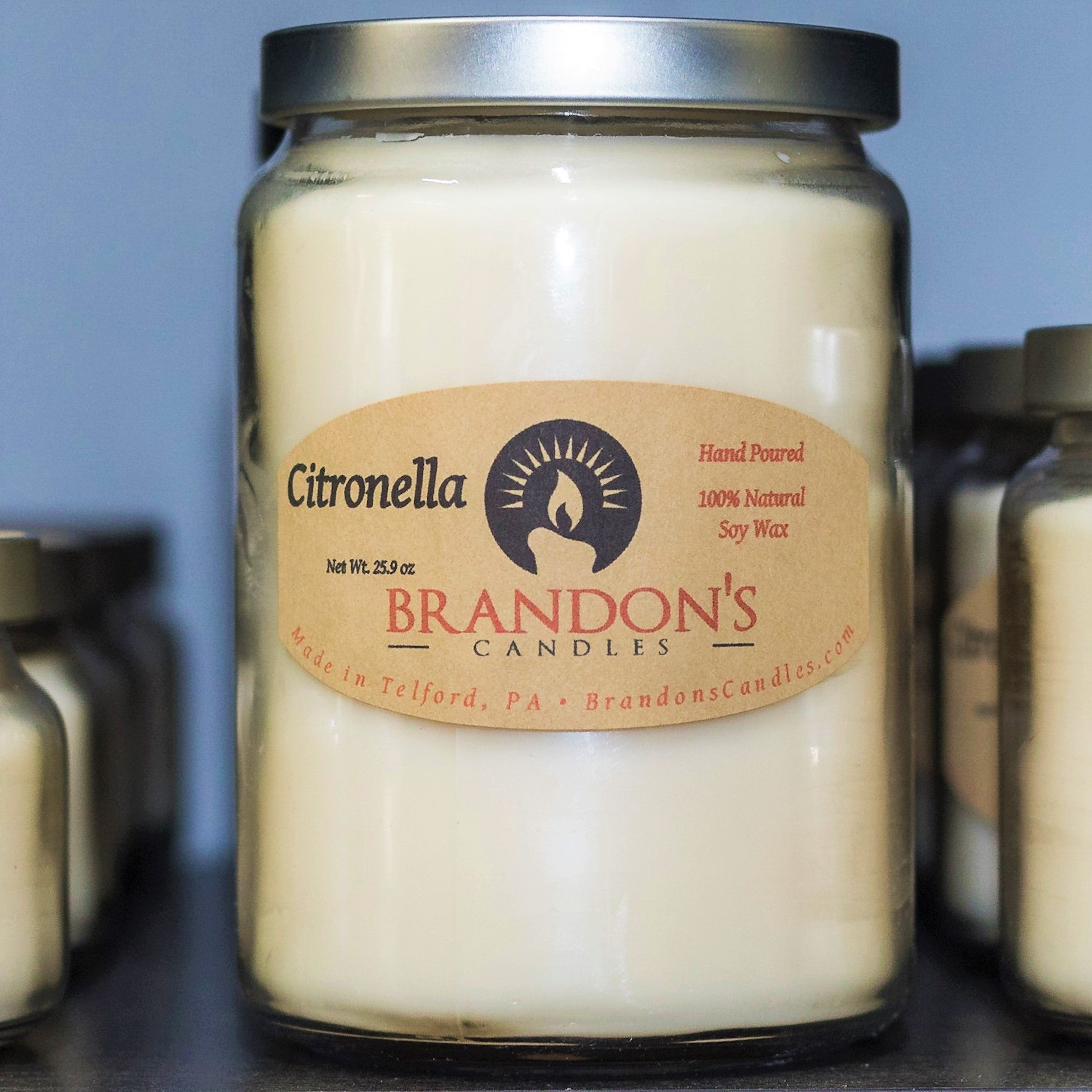 Citronella Scented, Ivory Colored Soy Jar Candle