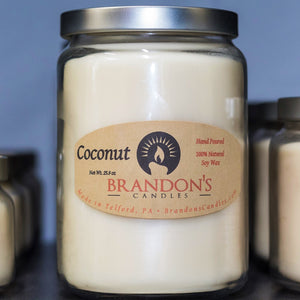 Coconut Scented, White Colored Soy Jar Candle
