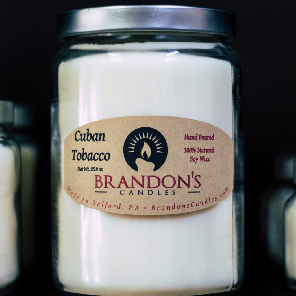 Cuban Tobacco Scented, White Colored Soy Jar Candle