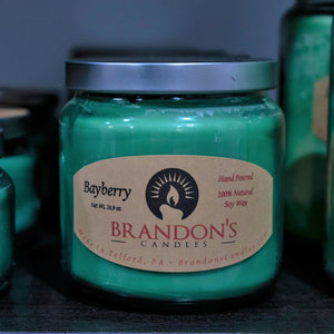Bayberry Scented, Green Colored Soy Jar Candle